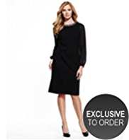 M&S Collection Drop a Dress Size Beaded Collar Secret Support™ Shift Dress