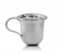 Silver Clarion Baby Cup Gift with Beaded Handled - Made in Italy