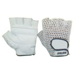 Weight Lifting Gloves Mesh White Leather Palm by Meteor Fitness