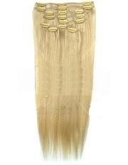 Clip-In-Extensions für komplette Haarverlängerung - hochwertiges Remy-Echthaar - 100 g - 35 cm - Hellblond - 60