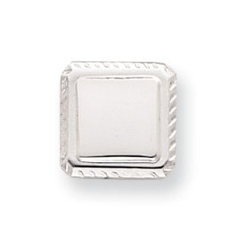 Rhodium-plated Square Tie Tack - JewelryWeb