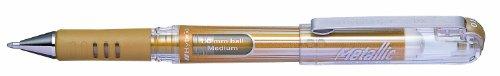 Pentel Hybrid Gel Metallic Grip DX K230-XO - 12 Bolígrafos híbridos de punta redonda, tinta pigmentada, color dorado