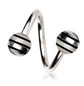 Black Striped Balls 316L Surgical Steel Twist Spiral Belly Bar Navel Ring Body Bar