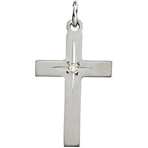 Genuine IceCarats Designer Jewelry Gift 14K Yellow Gold Cross Pendant W/Diamond 22.00X14.00 Mm