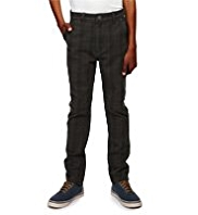 Pure Cotton Slim Fit Adjustable Waist Checked Trousers