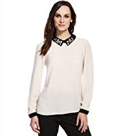 M&S Collection Embellished Collar Top