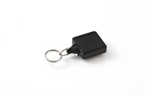KEY-BAK 0050-S05 Mini-Bak Square Retractable Reel with 36-Inch/91.4cm Nylon Cord, Steel Belt Clip, Split Ring, Black