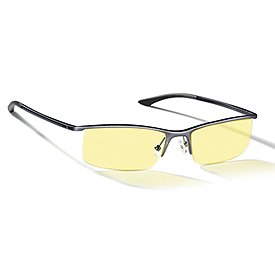 Gunnar Optiks ST003-C012 Emissary Semi-Rimless Advanced Computer Glasses with Squared Off Lenses and Amber Tint, Graphite Frame Finish