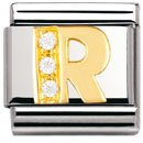 Composable Classic LETTERS in stainless steel , 18k gold and Cubic zirconia (R)