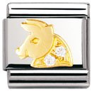 Composable Classic ZODIAC in stainless steel , 18k gold and Cubic zirconia (Taurus)