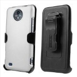 Beyond Cell Kombo Case and Holster Belt Clip Combo for ZTE Quantum/Vital N9810 - Non-Retail Packaging - White