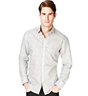 Big & Tall Autograph Slim Fit Pure Cotton Leaf Print Shirt
