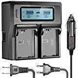 Neewer Dual LCD Battery Charger for Nikon EN-EL14 Batteries Compatible with Nikon D5300 D5200 D5100 D3100 D3200 D3300 P7100 P7000 P7700 DSLR(US Plug + EU Plug + Car Charger Adapter) (Color: black, Tamaño: 7.3 x 4.8 x 1.9 inches)