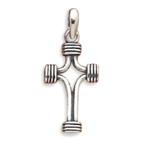 Small Sterling Silver Oxidized Wrapped Ends Cross Pendant