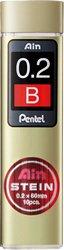 Pentel C272-B Ain Stein 0.2mm Refill Leads (10 leads per tube) - Black Lead