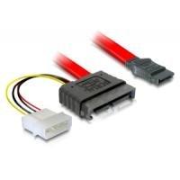DeLock Kabel SATA Slimline Stecker + 4pin Power > SATA Netzkabel intern 7+ 6 pol SATA Slimline Stecker + 4pol Strom auf 7 pol SATA 0.30 m