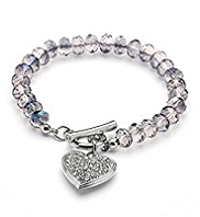 M&S Collection Multi-Faceted Bead & Diamanté Heart Bracelet