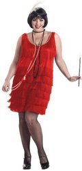 BLACK OR RED Plus Size Fashion Flapper Costume and Headband