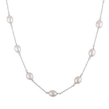 White Freshwater Cultured Pearl Tin Cup Necklace