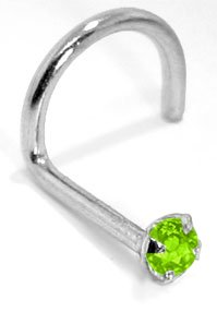2.0mm Peridot (August) - 950 Platinum Nose Ring Twist / Screw- 18 Gauge