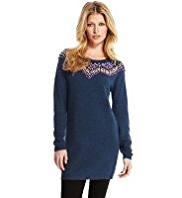 Indigo Collection Bobble Neckline Knitted Tunic with Angora