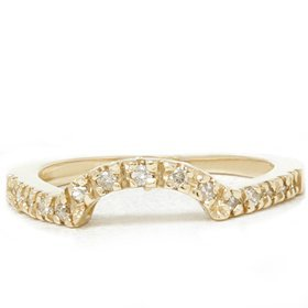 Pompeii3 Inc. Natural .25CT Curved Diamond Ring Notched Wedding Band Enhancer 14K Yellow Gold - 6