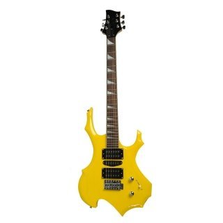 Moppi IRIN Flamme Typ elektronische Gitarre gelb mit Tasche Pick-Kabelbinder günstig