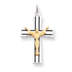 PriceRock Sterling Silver & Vermeil Crucifix Charm