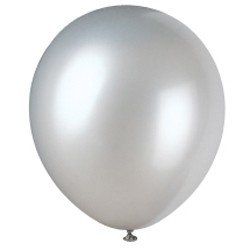 "12"" Latex Balloons Pearlized (Pearl Silver), 8 Count"