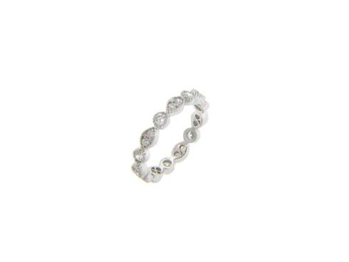 Sterling Silver Cubic Zirconia 3.5mm Alternating Marquis Round Design Milgrain Finish Eternity Band Ring