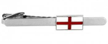 St George Flag Rhodium Plate Tie Clip