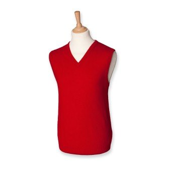 Henbury H731 Mens Lambswool Sleeveless V Neck Jumper Classic Red L