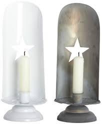 Kerzenständer mit ausgestanztem Stern, Metall, weiß