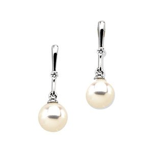 14k White Gold Fw Cultured Pearl Rough Diamond Earring Pair - JewelryWeb