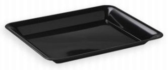 "Black Rectangular Plastic Serving Tray, 18"" X 12"" front-632367"