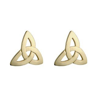 10k Yellow Gold Trinity Knot Stud Earrings-Made in Ireland
