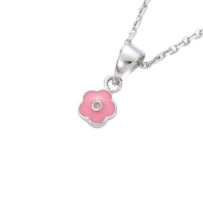 Sterling Silver Pink Enamel Flower Pendant (Sold alone: chain not included)