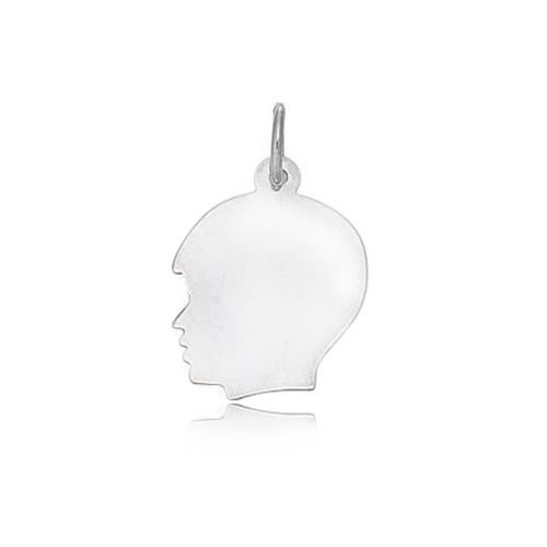 14K White Gold Boy's Head Charm (12 x 21 mm)