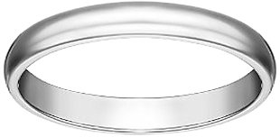 Women's 10k White Gold 3mm Traditional Plain Wedding Band, Size 7