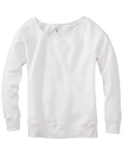 Bella Ladies Long Sleeve Wideneck Fleece. 7501 - Solid White Triblend 7501 S