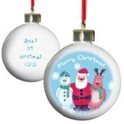 Snow Scene Trio Bauble, Personalised, Keepsake, Special, Christmas, Bauble, Snow