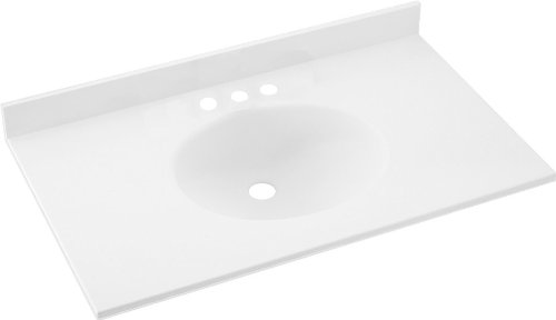 Swanstone VT1B1925-010 Ellipse 25-Inch by 19-Inch Vanity Top, White Finish