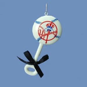 "Kurt Adler 4"" Polyresin New York Yankees Baby Rattle Ornament - 1"