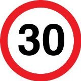 Reflective Road Traffic Sign - 30mph Maximum Speed (3mm aluminium) 300mm dia - For wall mounting