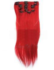 18 inch Col RED. Full Head Clip in Human Hair Extensions. High quality Remy Hair!. 100g Weight