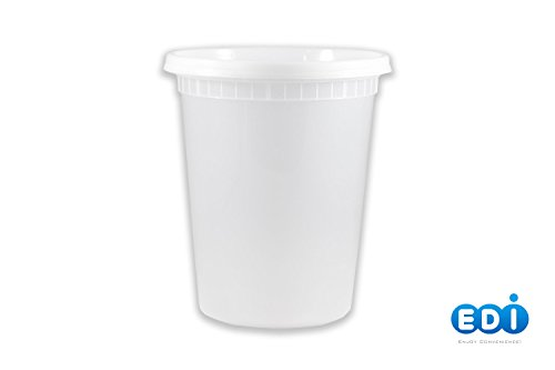 EDI Plastic Food Storage Plastic Containers with Lids Set, Pack of 25 Deli Containers (25, 32 OZ) (Deli Containers Quart compare prices)