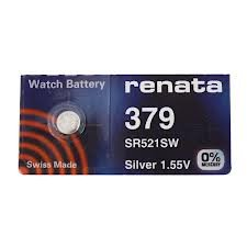 Renata Batteries 379 / SR 521 SW Button Cell, Silver 1.55V, Swiss Made (Set of 2 Pcs) ...