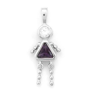 February Birthstone Girl Pendant. Rhodium Plated Purple CZ. - JewelryWeb
