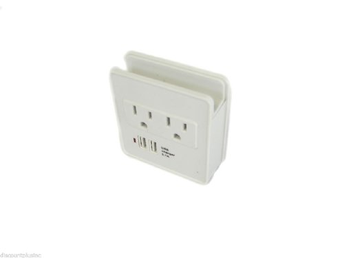 2 Electric Outlet Mini Home Office Travel Charger Station Surge Protector With Dual Usb Ports, 4 Charging Outlets Total