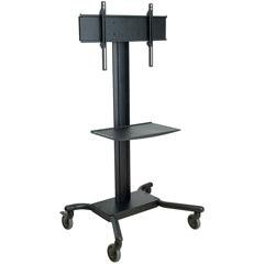 "Universal Rolling Cart for 32"" - 60"" Flat Panel Screens, with Metal Shelf (Black)"